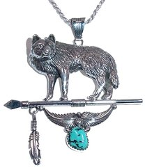 Wolf Jewelry with Lance, Feather and Turquoise Nugget - NOW 50% OFF