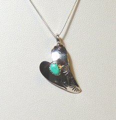 Sterling Silver Heart Pendant with Turquoise 40% OFF