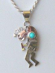 Kokopelli Jewelry with Turquoise Bead