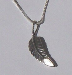 Sterling Silver Feather Jewelry with Mother of Pearl
