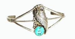 Sterling Silver Twist Wire - Turquoise Nugget Flower Setting - Bracelet