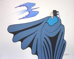 American Indian Painting - Will Redbird Kiowa Blue Bird
