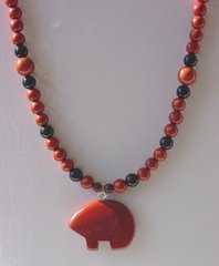 Red Jasper Necklace with Red Jasper Bear 25% OFF