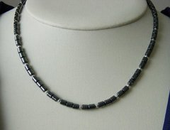 Native American Jewelry - Hematite Necklace with Silver Beads - 18 inch