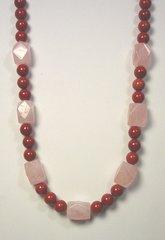 Red Jasper Necklace with Rose Quartz