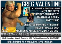 "Greg ""The Hammer"" Valentine - Inscription - Feb. 20th, 2018 - (1) Inscription Per Purchase"