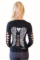 Angel Slashed Sleeve Tee - Black