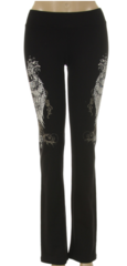 Cross with Wings and Rhinestones Yoga Pants (PLUS SIZE)