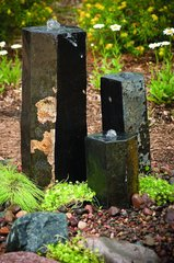 "3 Semi-Polished Stone Basalt Columns - (12"" / 20"" / 27"") 98264"
