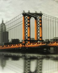 New York Bridge - 35cm x 28cm - 24mm Thick Wooden Base