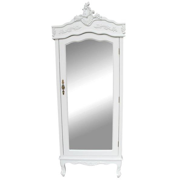 white single door armoire wardrobe with mirrored