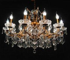 Gold 12 Branch Shallow Cut Glass Chandelier