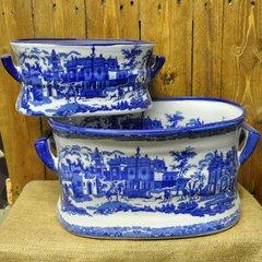 Set of 2 Blue & White Ceramic Foot Bath Planters
