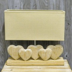 Five Heart Wooden Lamp & Shade 35cm
