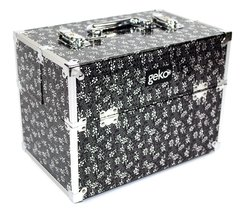 Vanity Case Makeup Box Silver / Black Flowers