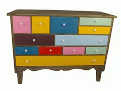 Multicoloured Sideboard Wooden Chest of Drawers Retro Shabby Chic