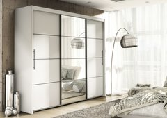 ANTHEA Sliding Mirror Door Wardrobe 251cm Wenge / Matt White / Oak