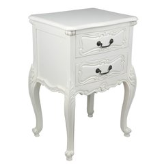 FRENCH White Carved Bedside