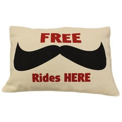 FREE Moustache Rides Cotton Canvas Cushion