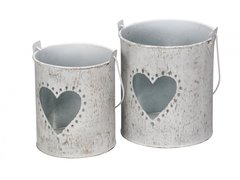 Set of 2 Grey Metal Lanterns