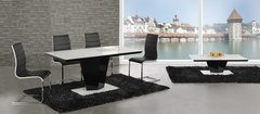 Leona Black High Gloss & White Glass Dining Table with 4 or 6 Encore Chairs