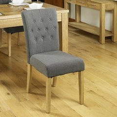 Baumhaus Oak Flare Back Upholstered Dining Chair Slate (Set of 2)