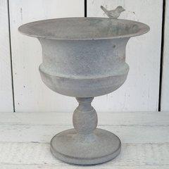 Metal Grey Planter with Bird 33cm