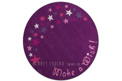 Arte Espina Childrens Make a Wish Star Purple Circle Rug