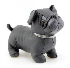 Faux Leather Black Pug Doorstop