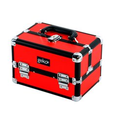 Professional Designer Vanity Case / Makeup Box Silver / Black & Red