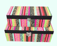 Designer Rainbow Fabric Covered Storage Boxes Set of 2