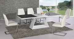 Italia Extending Black / White Table with 6 Mariya Chairs White