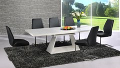 Italia Extending White Table with 6 Mariya Chairs Black