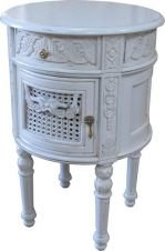 Antique White French Round Bedside