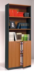 TULIP Nut Brown and Office Grey Tall Wide Bookcase With Doors