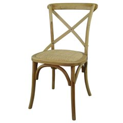 Light Wooden Cross Back Dining Chair