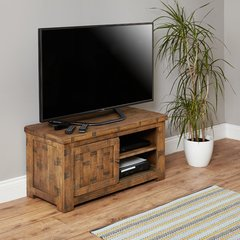 Baumhaus HEYFORD Rough Sawn Oak One Door Television Cabinet