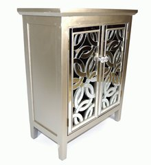 Stunning Designer Mirror Fronted Silver Solid Wood Cabinet