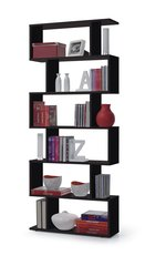 BREEZE Black / Wenge Brown / White Gloss Zig Zag Bookcase