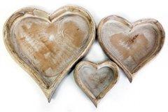 Three Wooden Heart Trays