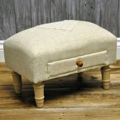 Natural Jute with Heart Footstool & Drawer