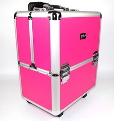 Beauty Case Beautician Make-up Trolley Box Pink + Silver Frame