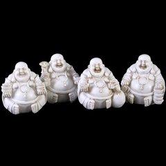 Sitting Buddhas White Ivory Resin Figures (Set of 4)