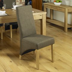 Baumhaus Oak Full Back Upholstered Dining Chair Hazelnut (Set of 2)