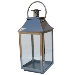 Large Polished Stainless Steel Glass Lantern