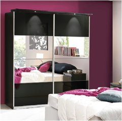 LAUREL Black Gloss or White Gloss Mirrored Sliding Wardrobe