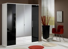 MULBERRY Black Gloss & White 4 Door 2 Drawer Wardrobe with Mirror