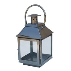 Polished Stainless Steel Small Glass Lantern