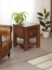 Baumhaus MAYAN WALNUT One Drawer Lamp Table / Bedside Table