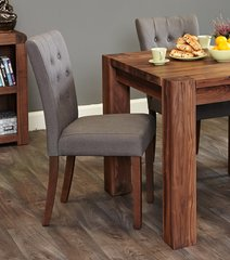 Flare Back Upholstered Slate Dining Chair Walnut Legs (Set of 2)